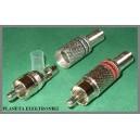 Wtyk RCA czarny cinch metalowy na kabel