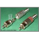 Wtyk RCA cinch metalowy CZERWONY na kabel