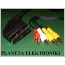Kabel wtyk EURO SCART / 4x RCA cinch 5m