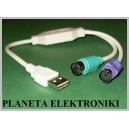 Przejście wtyk USB - 2gn PS/2 Mysz Klawiatura