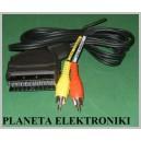 Kabel wtyk EURO SCART / 2x RCA cinch AV 5m
