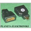 Przejście gniazdo HDMI / wtyk Micro HDMI gold