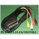 Kabel wtyk EURO SCART / 4x RCA cinch 3m