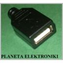 Gniazdo USB typ A montowane na kabel + osłona