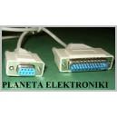 Kabel wtyk RS232 DSUB 9pin - wtyk dsub 25p 1m