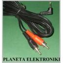 Kabel jack 2,5 stereo kątowy -2x RCA 2,5m