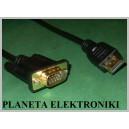 Kabel HDMI - VGA DSUB 15pin FULL HD gold 5m (3003)