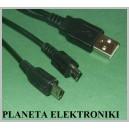 Kabel wtyk USB na Micro / Mini USB 2w1 16cm czarny(2846a)