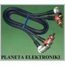 Kabel 2x wtyk RCA (cinch) - 2 RCA 3m KĄTOWY kąt (3479)