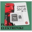 Karta pamięci MICRO SD 16GB adapter KINGSTON(3338a)