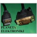 Kabel wtyk HDMI / wtyk DVI 24+1 gold 5m (3634)