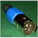 Niebieski wtyk mikrofonowy XLR 3pin na kabel
