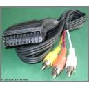 Kabel wtyk EURO SCART / 3x RCA cinch 1,5m
