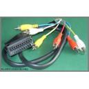 Kabel wtyk EURO SCART / 6x RCA cinch 1m