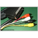 Kabel wtyk EURO SCART / 4x RCA cinch 1m